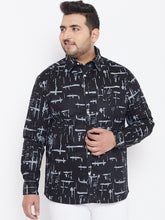 bigbanana Bryan Black Classic Regular Fit Printed Casual Shirt