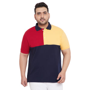 bigbanana Bryce Multicolor Plus Size Colorblocked Polo T-Shirt
