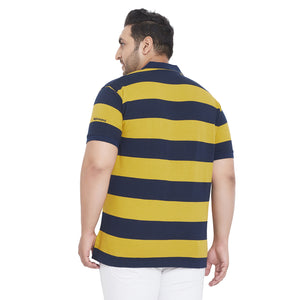 bigbanana Bryson Yellow and Navy Plus Size Colorblocked Polo T-Shirt