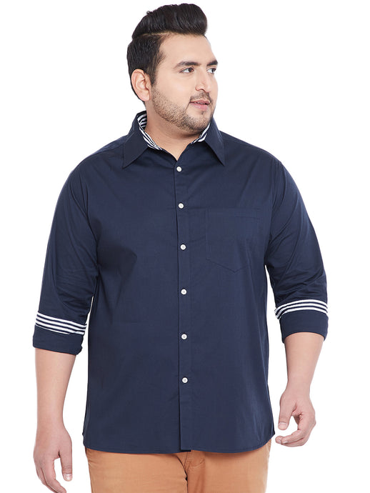 bigbanana Carter Navy Blue Classic Regular Fit Solid Casual Shirt