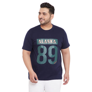 bigbanana Caleb Navy Blue Printed Plus Size Round Neck T-shirt