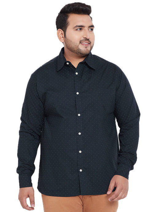 bigbanana Callen Navy Blue Classic Regular Fit Printed Casual Shirt