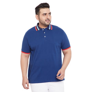 bigbanana Cameron Blue color Plus Size Solid Polo T-Shirt