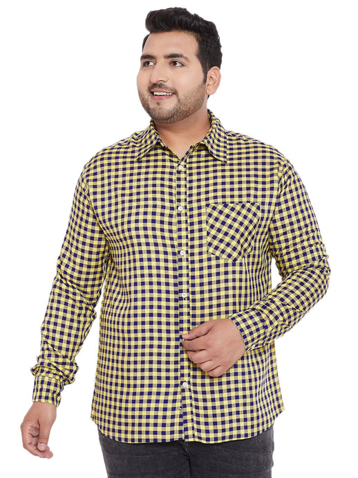 bigbanana Campbell Yellow & Blue Regular Fit Checked Casual Shirt