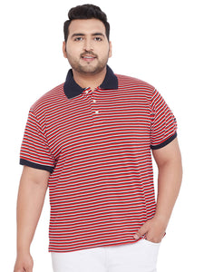 bigbanana Cannes Red Striped Polo T-Shirt