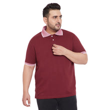 bigbanana Carlo Maroon Plus Size Solid Polo Collar T-Shirt