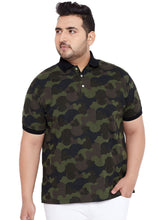 bigbanana Casey Olive Green Printed Polo Collar T-shirt