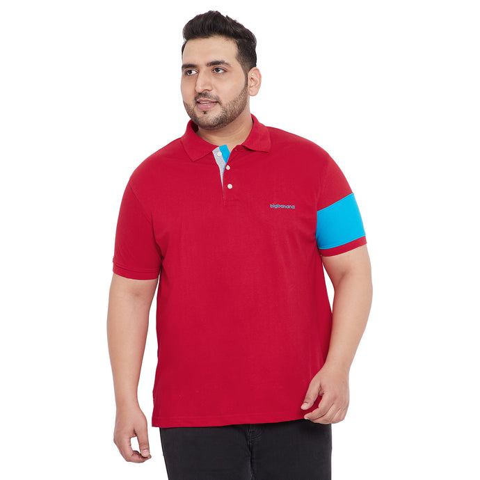 bigbanana Cayle Red Plus Size Colorblocked Polo T-Shirt