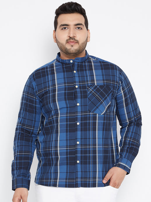 Long Sleeves CHARLIE Yarn Dyed Casual Shirts in Navy and Royal Blue Check