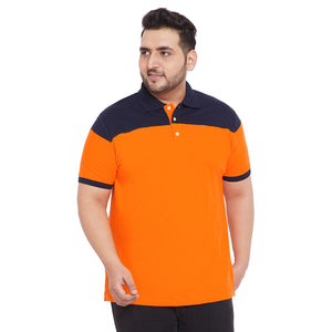 bigbanana Christian Orange Plus Size Colorblocked Polo T-Shirt