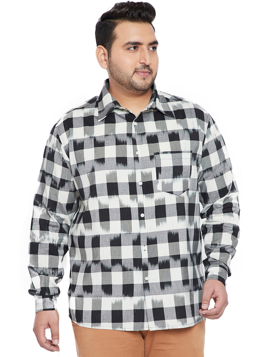 bigbanana Clay Men Black & White Regular Fit Checked Casual Shirt