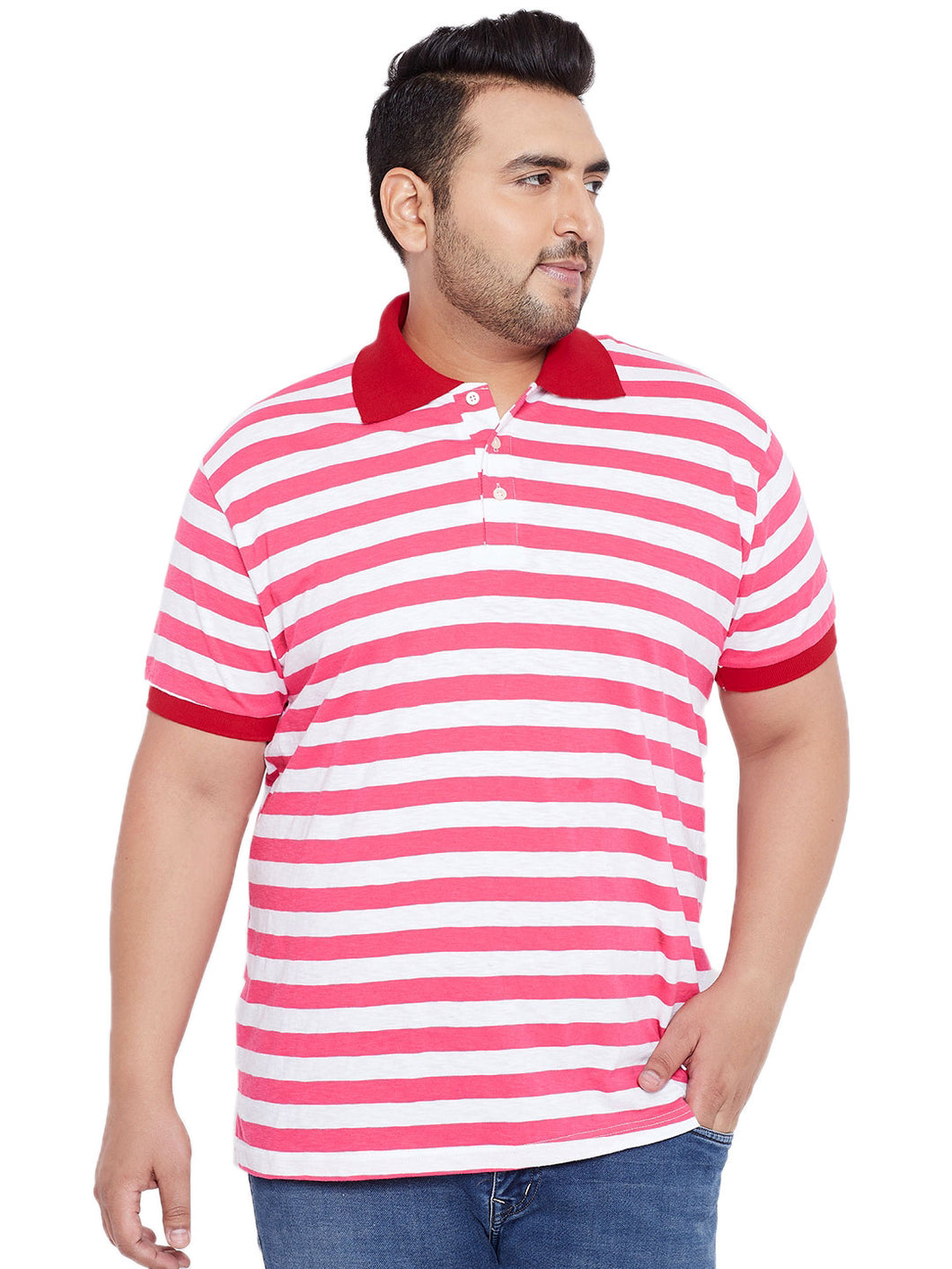 bigbanana Clayton White & Pink Striped Plus SIze Polo Collar T-shirt