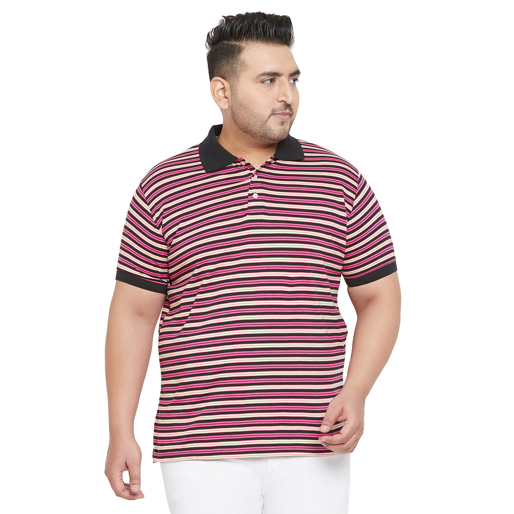 bigbanana Climber Multicolor Striped Plus Size Polo T-Shirt