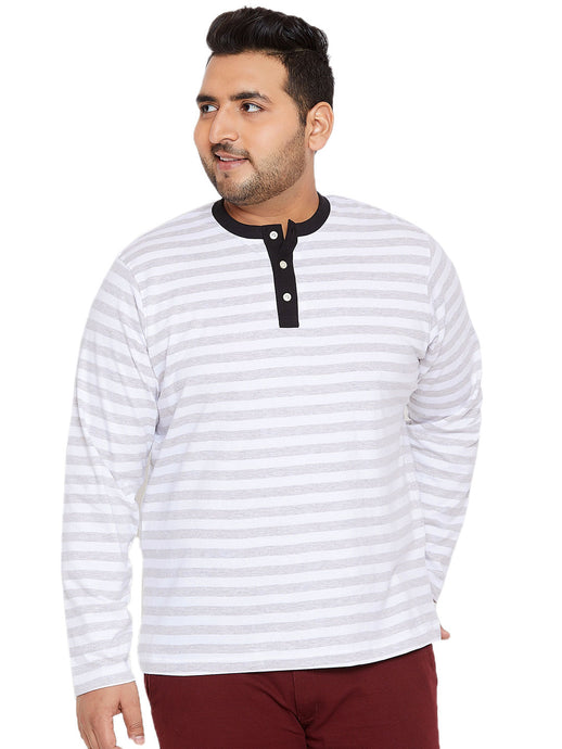 bigbanana Conrad White & Grey Striped Henley Neck T-shirt