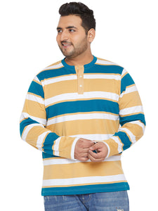 bigbanana Connie Yellow Striped Henley Neck T-shirt