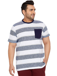 bigbanana Corey White Striped Round Plus Size Neck T-shirt