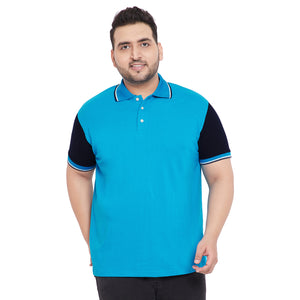 bigbanana Cosmo Turquoise Colorblocked Plus Size Polo T-Shirt