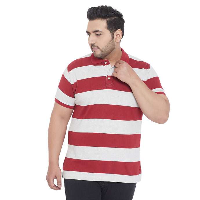 bigbanana Crew Red and White Plus Size Striped Polo T-Shirt