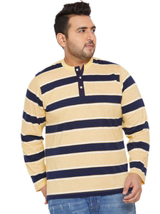 bigbanana Curtis Yellow & Navy Blue Striped Henley Neck T-shirt