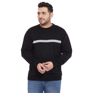bigbanana Damian Black Color Solid Plus Size Sweater