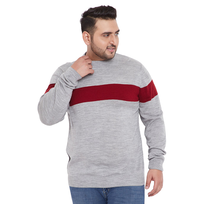 bigbanana Darik Grey Color Solid Plus Size Sweater