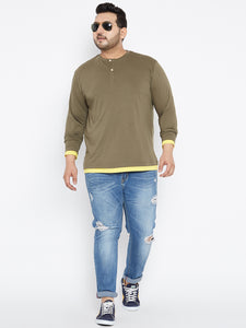 Henley T Shirt in Olive Color