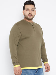 Plus Size Henley T Shirt in Olive Color