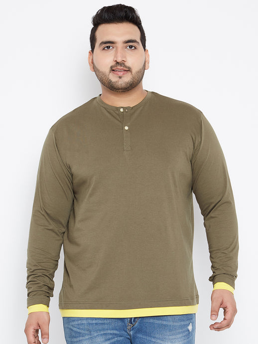 DARIUS Solid Henley T Shirt in Olive Color