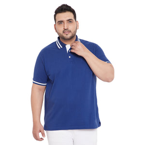 bigbanana Declan Royal Blue color Solid Plus Size Polo T-Shirt