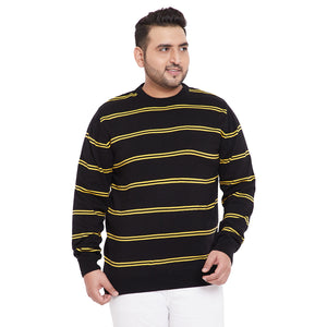 bigbanana Dekle Black Color Striped Plus Size Sweater