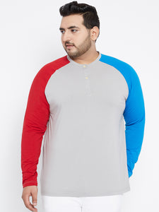 DEO Raglan Sleeves Color blocked Henley T Shirt
