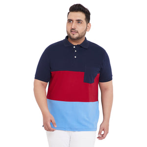 bigbanana Dominic Multicolor Colorblocked Plus Size Polo T-Shirt