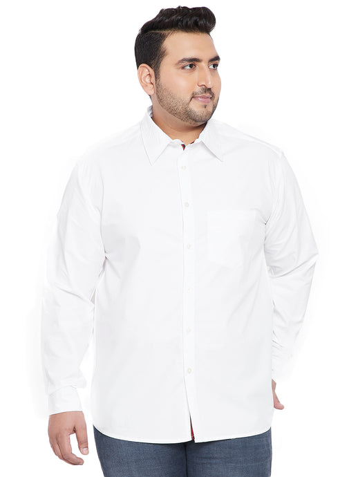 bigbanana Dusky White Classic Regular Fit Solid Casual Shirt