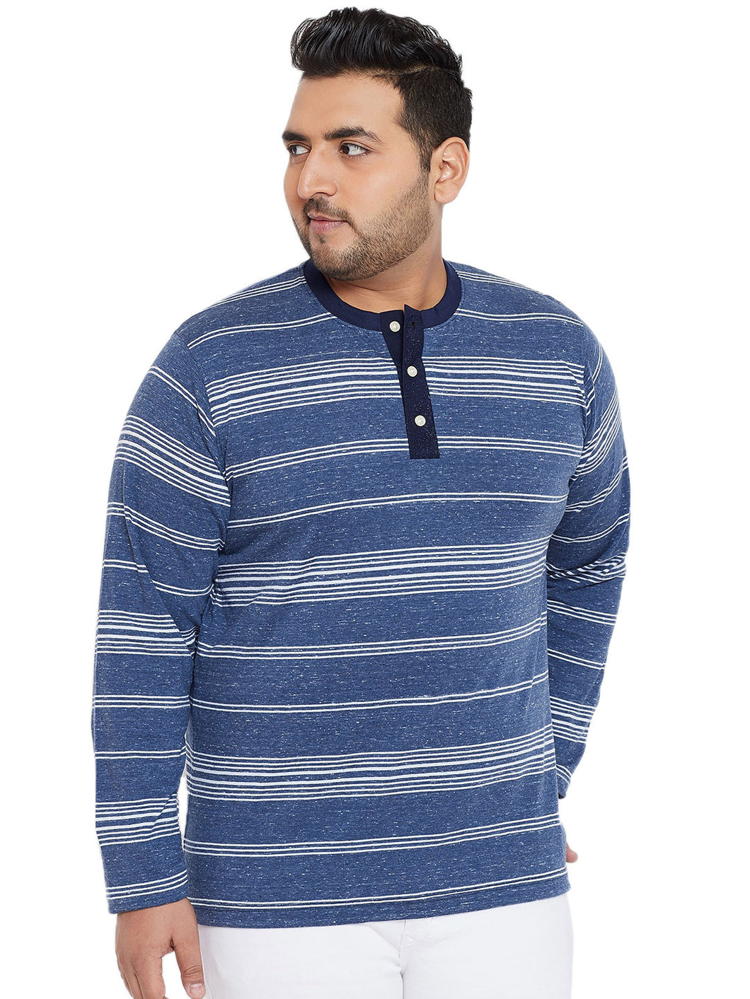 bigbanana Eldred White & Blue Striped Henley Plus Size Neck T-shirt