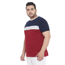 bigbanana Ella Maroon Plus Size Colourblocked Round Neck T-shirt
