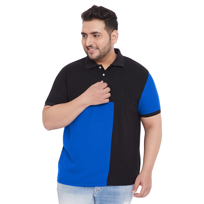 bigbanana Elliot Black Colorblocked Plus Size Polo T-Shirt