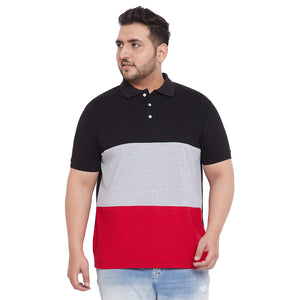 bigbanana Emmanuel Multicolored Colorblocked Plus Size Polo T-Shirt