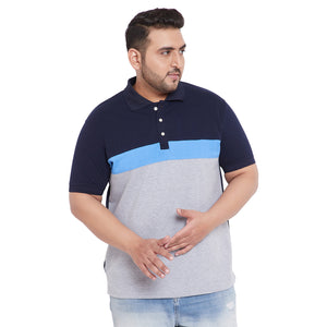 bigbanana Eric Multicolor Plus Size Colorblocked Polo T-Shirt