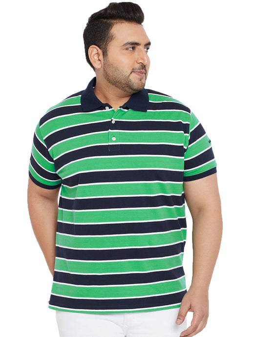 bigbanana Ernest Green & Navy Blue Striped Plus Size Polo Collar T-shirt