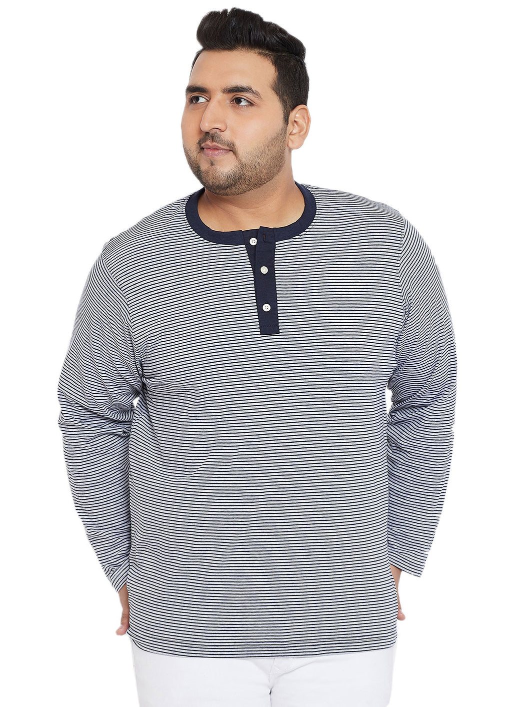 bigbanana Everard White Striped Plus SIze Henley Neck T-shirt