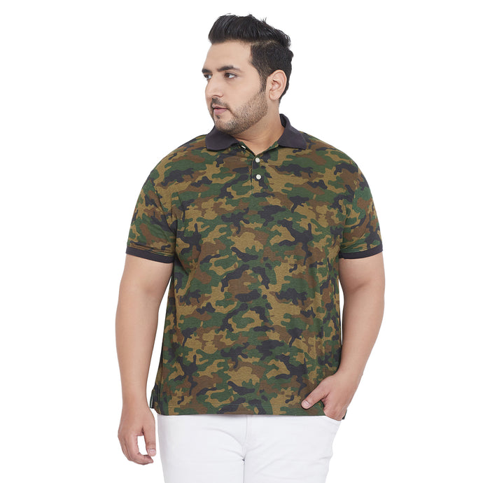 bigbanana Everett Camouflage Plus Size Printed Polo T-Shirt