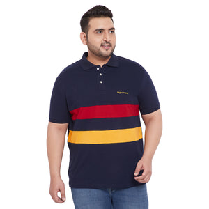 bigbanana Ezra Multicolor Plus Size Colorblocked Polo T-Shirt
