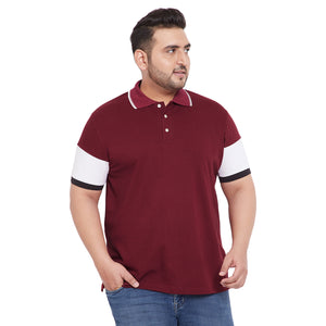 bigbanana Faris Maroon Plus Size Colorblocked Polo T-Shirt