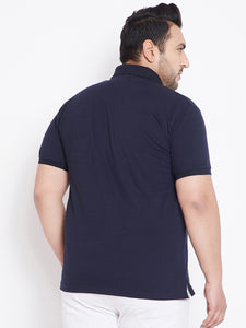 bigbanana Fraser Navy Blue Solid Plus Size Polo T-Shirt
