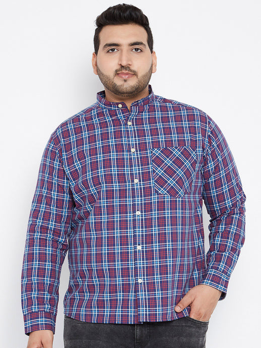 Long Sleeves FREDDIE Yarn Dyed Casual Shirt in Purple and Navy Tartan Checks