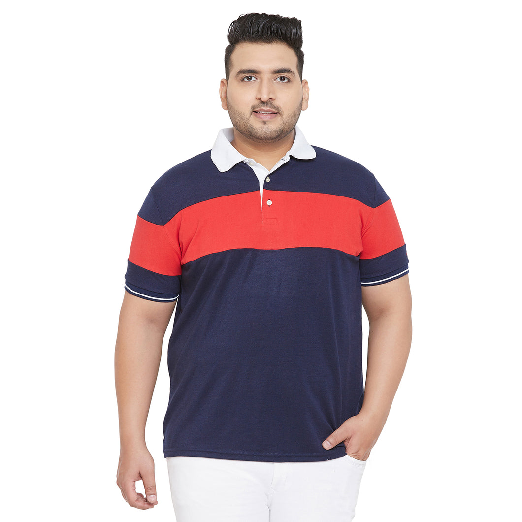 bigbanana Gape Navy Blue and Red Colorblocked Plus Size Polo T-Shirt