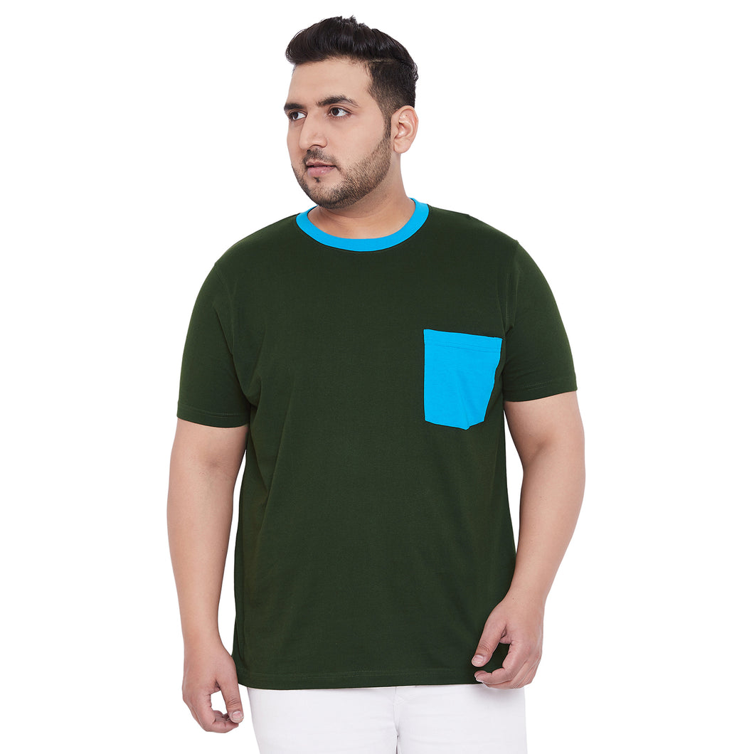 bigbanana Gavin Bottle Geen Solid Round Neck T-Shirt