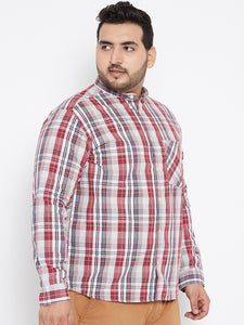 Plus size Long Sleeves Casual Shirt Red and White Tartan Checks