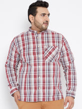 Long Sleeves GEORGE  Yarn Dyed Casual Shirt in Red and White Tartan Checks
