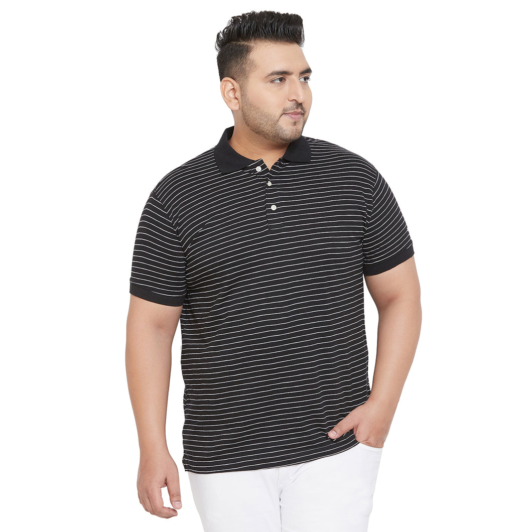 bigbanana Giber Black & White Striped Polo Collar Bio Finish T-shirt